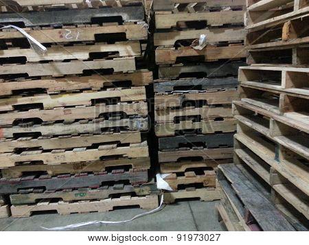 Wooden pallet stacks