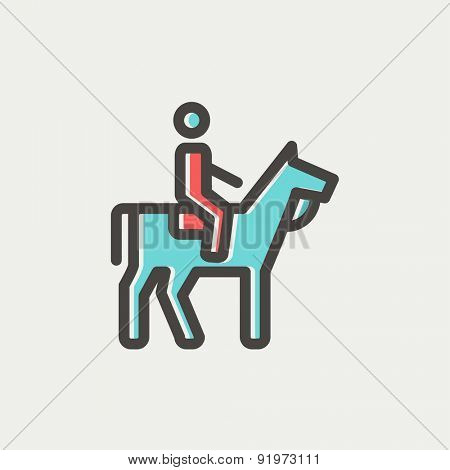 Horse riding icon thin line for web and mobile, modern minimalistic flat design. Vector icon with dark grey outline and offset colour on light grey background.