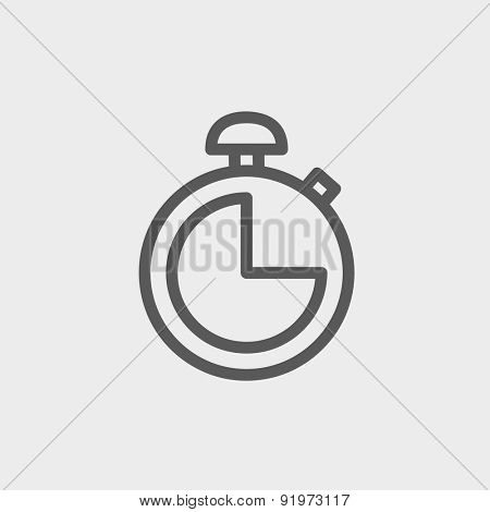 Stopwatch icon thin line for web and mobile, modern minimalistic flat design. Vector dark grey icon on light grey background.