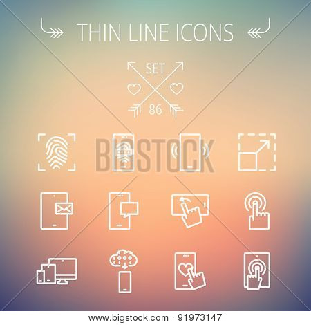 Technology thin line icon set for web and mobile. Set includes- mobiles icons, fingerprint, wireless gadgets icons. Modern minimalistic flat design. Vector white icon on gradient mesh background.