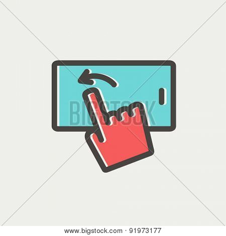 Hand browsing in cellphone icon thin line for web and mobile, modern minimalistic flat design. Vector icon with dark grey outline and offset colour on light grey background.