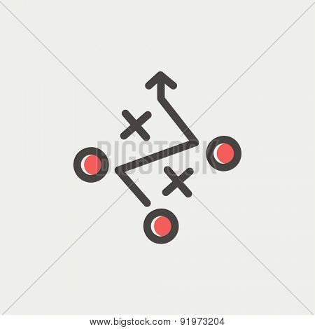 Tic tac toe game icon thin line for web and mobile, modern minimalistic flat design. Vector icon with dark grey outline and offset colour on light grey background.