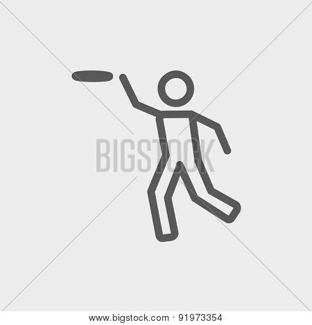 Man catching a flying disc icon thin line for web and mobile, modern minimalistic flat design. Vector dark grey icon on light grey background.