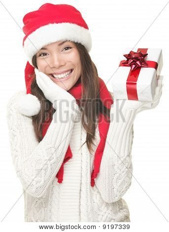 Santa Woman Showing Gift Smiling - Christmas