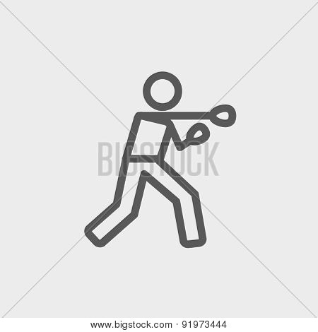 Boxing man punch icon thin line for web and mobile, modern minimalistic flat design. Vector dark grey icon on light grey background.