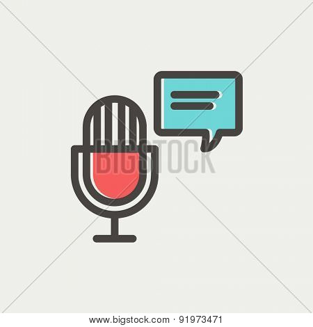 Microphone with speech bubble icon thin line for web and mobile, modern minimalistic flat design. Vector icon with dark grey outline and offset colour on light grey background.
