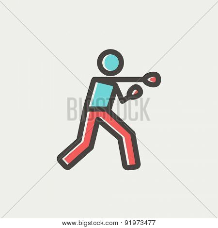 Boxing man punch icon thin line for web and mobile, modern minimalistic flat design. Vector icon with dark grey outline and offset colour on light grey background.