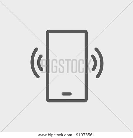 Mobile phone vibrating icon thin line for web and mobile, modern minimalistic flat design. Vector dark grey icon on light grey background.
