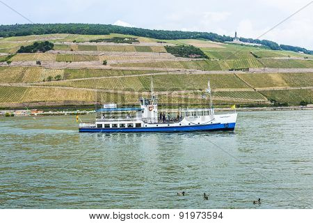 Passenger Ship On Pier In Bingen