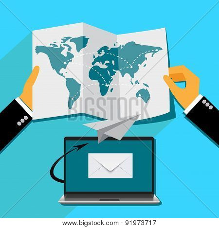 email marketing concept in flat style, Vector web design and infographic