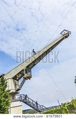 Old Crane With Iron Man In Bingen,
