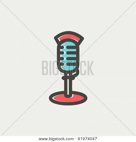 On air microphone icon thin line for web and mobile, modern minimalistic flat design. Vector icon with dark grey outline and offset colour on light grey background.