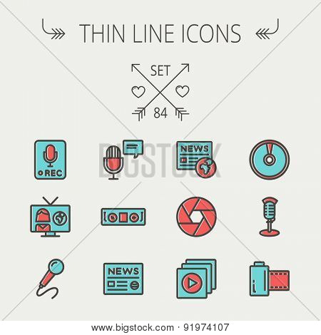 Multimedia thin line icon set for web and mobile. Set includes -vintage mic, car stereo, news, station, news report, tv, camera shutter, media player, Cd, film roll  icons. Modern minimalistic flat