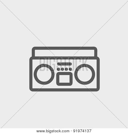 Cassette player icon thin line for web and mobile, modern minimalistic flat design. Vector dark grey icon on light grey background.