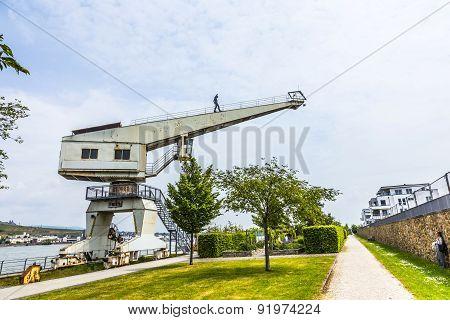 Old Crane With Iron Man In Bingen,