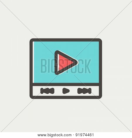 Play sign in movie player icon thin line for web and mobile, modern minimalistic flat design. Vector icon with dark grey outline and offset colour on light grey background.