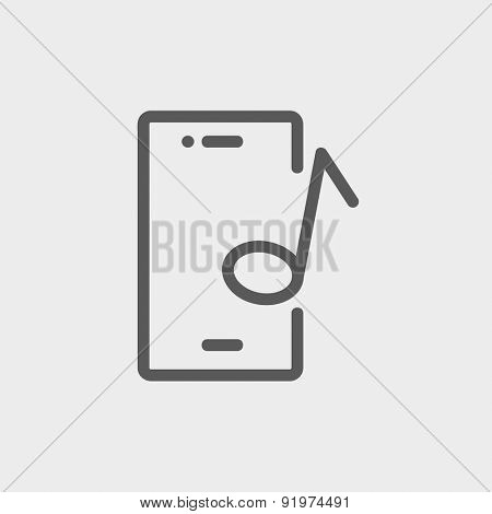 Smartphone with music note icon thin line for web and mobile, modern minimalistic flat design. Vector dark grey icon on light grey background.