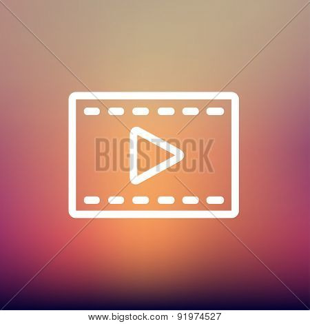 Film strip with arrow icon thin line for web and mobile, modern minimalistic flat design. Vector white icon on gradient mesh background.