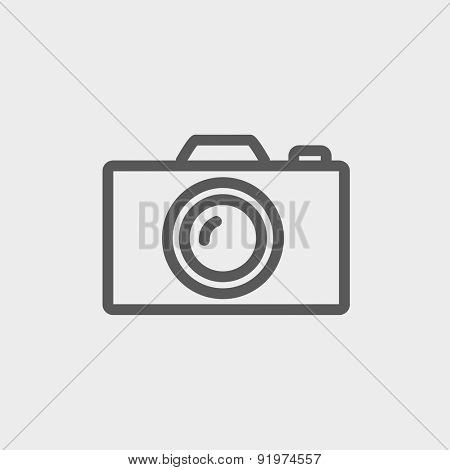 Camera icon thin line for web and mobile, modern minimalistic flat design. Vector dark grey icon on light grey background.