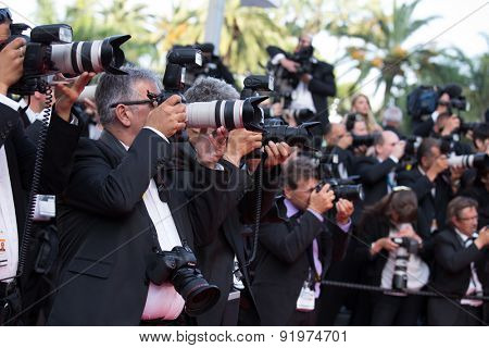Photographers at the 'Sicario' premiere during the 68th annual Cannes Film Festival on May 19, 2015 in Cannes, France.