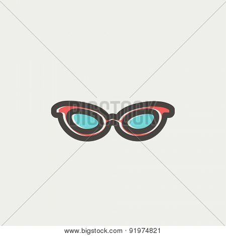Retro cat eyeglasses icon thin line for web and mobile, modern minimalistic flat design. Vector icon with dark grey outline and offset colour on light grey background.