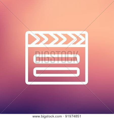 Clapboard icon thin line for web and mobile, modern minimalistic flat design. Vector white icon on gradient mesh background.