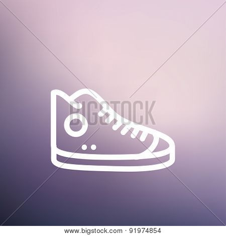High cut rubber shoes icon thin line for web and mobile, modern minimalistic flat design. Vector white icon on gradient mesh background.