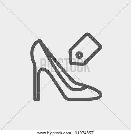 Shoe with tag icon thin line for web and mobile, modern minimalistic flat design. Vector dark grey icon on light grey background.