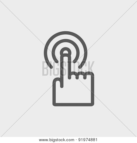 Finger pressing circles icon thin line for web and mobile, modern minimalistic flat design. Vector dark grey icon on light grey background.