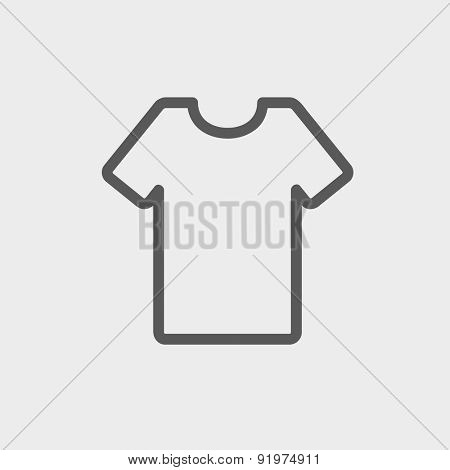 T-shirt icon thin line for web and mobile, modern minimalistic flat design. Vector dark grey icon on light grey background.
