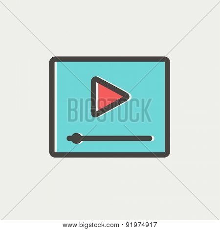Play button with fast forward icon thin line for web and mobile, modern minimalistic flat design. Vector icon with dark grey outline and offset colour on light grey background.