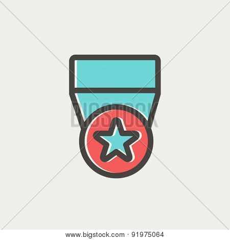 One star medal icon thin line for web and mobile, modern minimalistic flat design. Vector icon with dark grey outline and offset colour on light grey background.