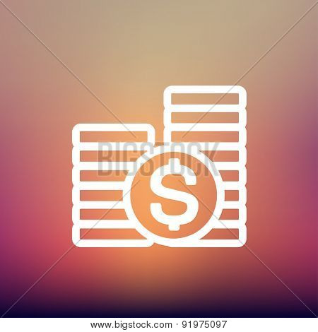 Stack of dollar coin icon thin line for web and mobile, modern minimalistic flat design. Vector white icon on gradient mesh background.