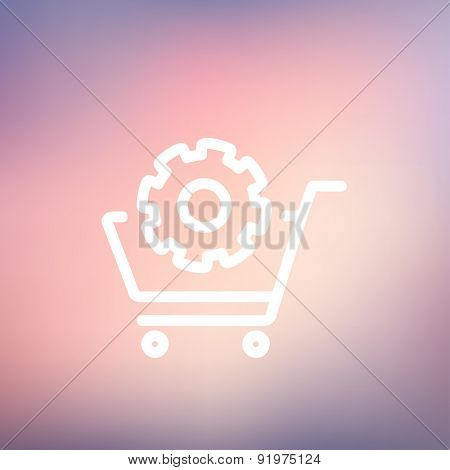Shopping with gear icon thin line for web and mobile, modern minimalistic flat design. Vector white icon on gradient mesh background.
