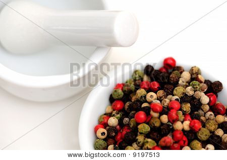 Peppercorns With Mortar And Pestle