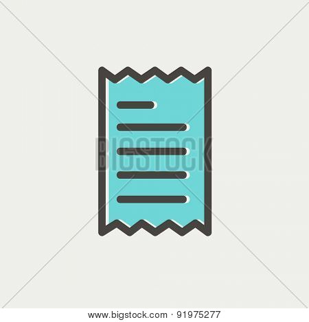 Paper with lines icon thin line for web and mobile, modern minimalistic flat design. Vector icon with dark grey outline and offset colour on light grey background.