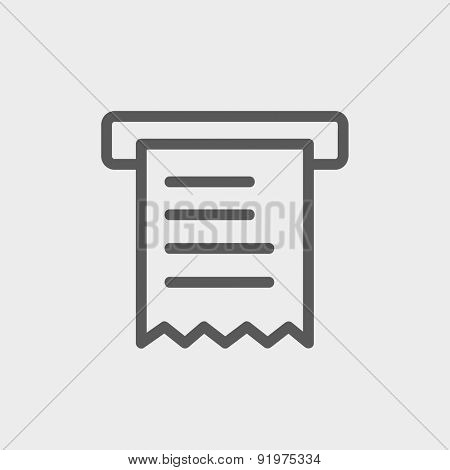Paper towel with roller icon thin line for web and mobile, modern minimalistic flat design. Vector dark grey icon on light grey background.