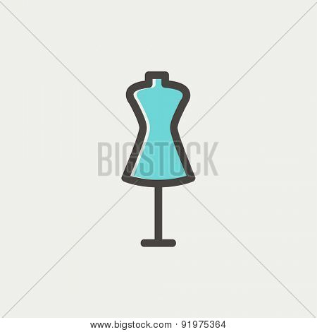 Mannequin icon thin line for web and mobile, modern minimalistic flat design. Vector icon with dark grey outline and offset colour on light grey background.
