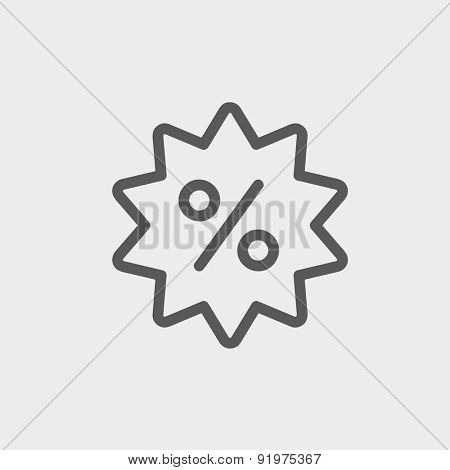 Discount tag icon thin line for web and mobile, modern minimalistic flat design. Vector dark grey icon on light grey background.