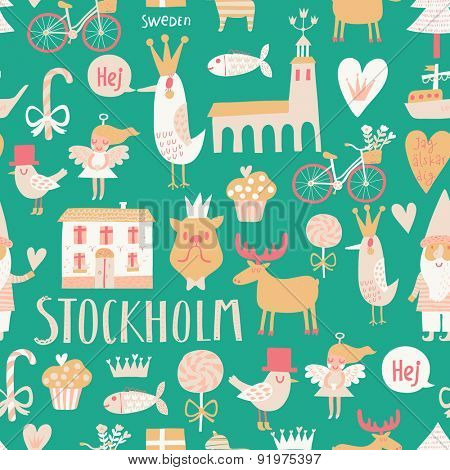 Stylish Stockholm concept seamless pattern in vector. House, church, gnome, birds, moose, bicycle, horse and other Stockholm symbols in cute green colors