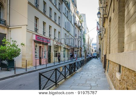 Street scene of Rue de Chapon in Paris, France