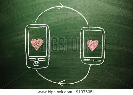 interconnected love on mobile devices sketched on green chalkboard