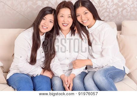 Happy Asian girls and there mommy.