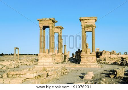 Old Ruins In The Ancient City Of Palmyra
