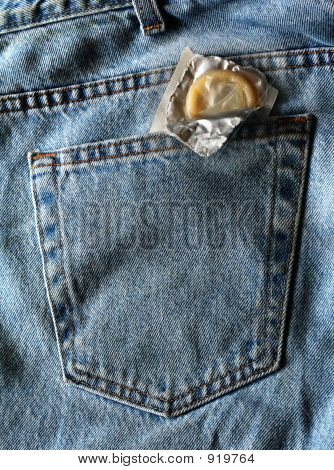 Jeans Condom Back Pocket