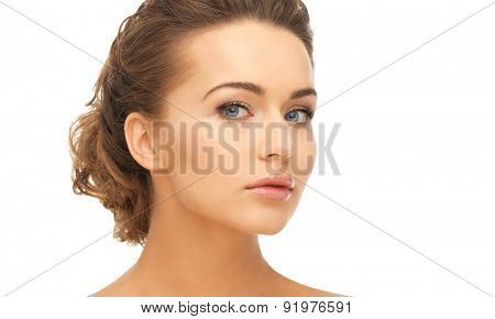 close up of clean face of beautiful young woman