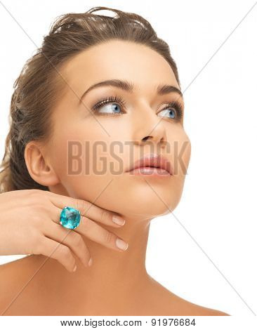 bride and wedding concept - beautiful woman with blue cocktail ring