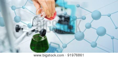science, chemistry, biology, medicine and people concept - close up of scientist hand filling test tubes and making research in clinical laboratory over blue molecular structure background