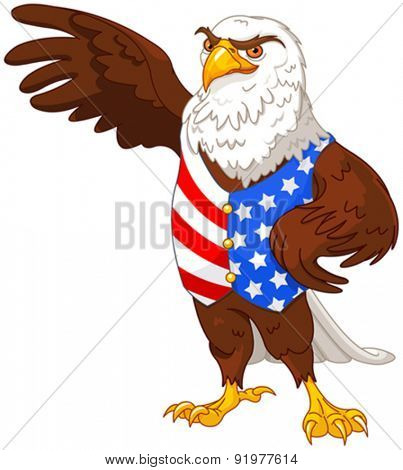 Illustration of proud American eagle wearing American flag vest