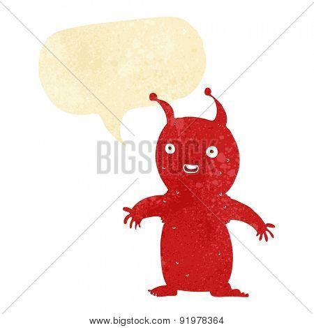 cartoon happy little alien with speech bubble